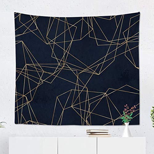Xrknvf Tapestry Chic Geometric Navy Gold Polygonal Shapes Crystals Golden Glitter Triangles Diamond Not Easy to Deform Comfortable Environmentally Friendly Bedroom Living Room Decoration 60x80 Inches