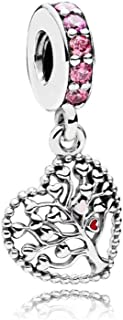Compatible with Pandora Charms Bracelets Family Tree Series Charms for Bracelets Tree of Life Charm Family Tree Love Heart Sterling Silver Charms for Girls Women