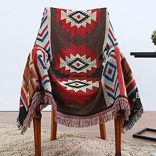 BINGMAX Gewebte Überwurfdecke, 100 prozent Baumwolle, mit Fransen, Handtuch/Steppdecke für Couch, Rot/ Blau, Kirim Strickdecke, 130X160 cm Tischdecke Klavierdeckel Freizeitdecke