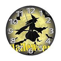 月に魔女のシルエット 壁掛け時計 掛け時計 丸い デジタル 連続秒針 静音 電子掛け時計 家の装飾 オフィス レト デスクトップの装飾 ギフト