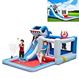 Lanafall Gonflable Enfants Shark Water Slide Bounce House Jumper Bouncer Jump Bouncy Castle