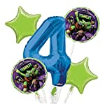 Ninja Turtles Balloon Bouquet 4th Birthday 5 pcs - Party Supplies