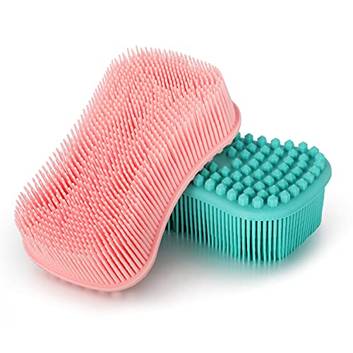 ELFRhino Silicone Body Scrubber, Gentle Exfoliating Cleaning Loofah, Soft Body Brush, SPA Massage Skin Care Tool, Scalp Massager for Women and Men, 2 Pack (Blue+Pink)