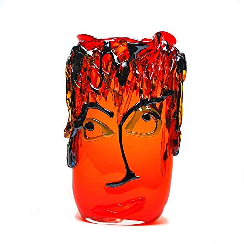 Murano Glass Picasso Oval Vase Red with Multicolor Accents