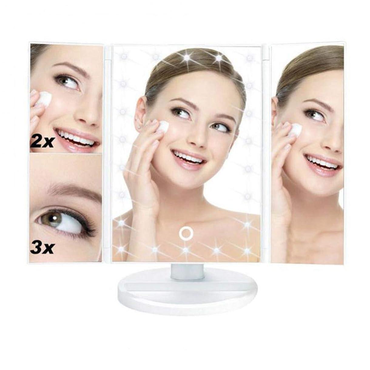 入り口上院フォアマンLED照明とタッチスクリーン付き化粧バニティミラー、3つ折り1X / 2X / 3X倍率、180°回転、カウンタートップ化粧鏡,White-OneSize