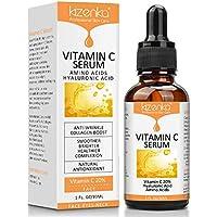 kizenka Suero de vitamina C con ácido hialurónico, suero antiarrugas para la cara de arrugas, removedor de hidratación y aclarado Sueros para el cuidado del rostro Sun Spot 30ml