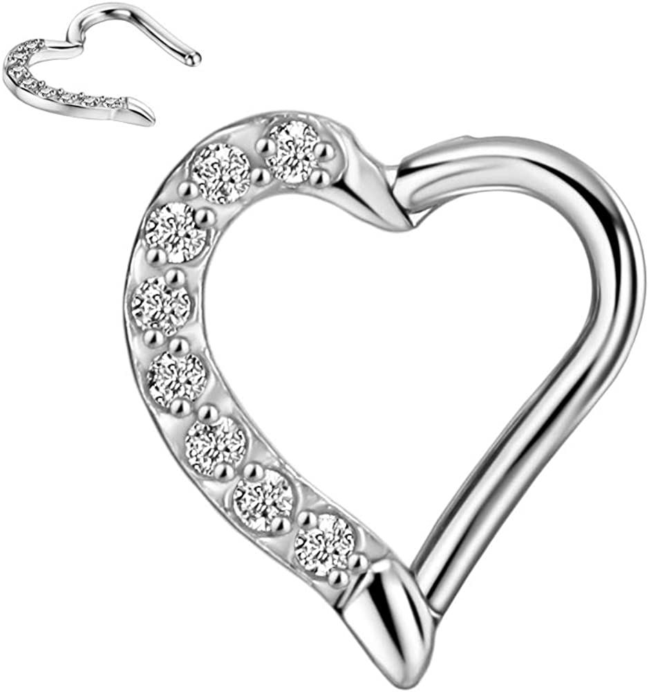 FANSING 316L Surgical Steel Gemmed Heart Shaped Hinged Daith Earrings for Right Ear 16 Gauge 8mm Daith Piercing Jewelry