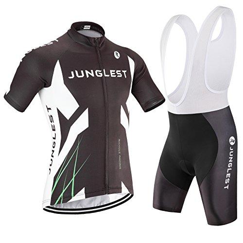 junglest (Traje(Tirante Blancas) tamaño:L) para Moda Transpirable Rompevientos Hombres Rendimiento Maillot Ciclismo...