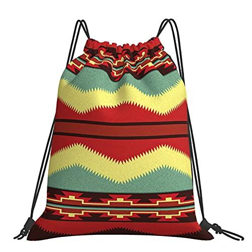 Bolsas Scout Fiesta Rústico Suroeste Tribal Nativo Americano Navajo Mochila con Cordón Deportivo Gimnasio Unisex Niños De Al Aire Libre Yoga Gimnasio Natación Viajes Playa Sackpack Talla