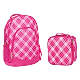 Reinforced Water Resistant School Backpack and Insulated Lunch Bag Set - Pink Preppy Plaid