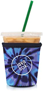 Java Sok Reusable Iced Coffee Cup Insulator Sleeve for Cold Beverages and Neoprene Holder for Starbucks Coffee, McDonalds, Dunkin Donuts, More (Tie-Dye Blue, 16-18oz Small)