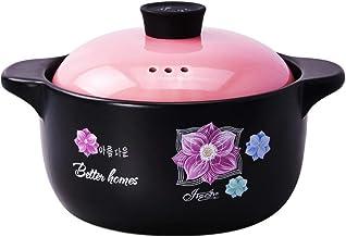 Practical Casserole XLTCG Round Ceramic Casserole Dish With Lid, Slow Stew Saucepan, Soup Pot, Stock Pots Large, Lasting H...