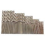 Gaoominy Juego de Brocas de Cobalto M35 Herramientas Drillforce de 50 Piezas, Juego de Brocas Hss-Co de 1-3 Mm, para Taladrar en Acero Endurecido, Hierro Fundido y Acero Inoxidable