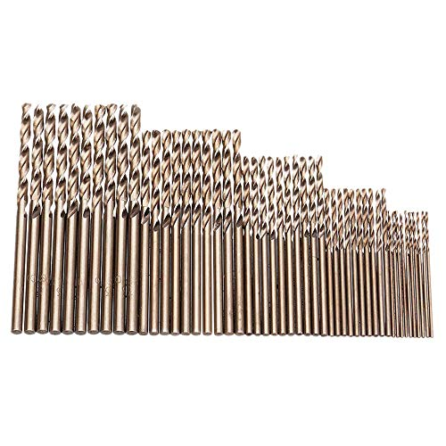 Gaoominy 50 Stücke Drill Force Werkzeug M35 Cobalt Bohrer Satz, Hss-Co Bohrer Satz 1-3 Mm, zum Bohren auf Geh?Rtetem Stahl, Guss Eisen Und Edelstahl