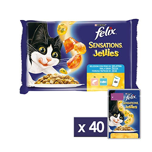 Purina Felix Sensations Jellies Umido Gatto con Salmone in Gelatina Insaporita con Gamberetti e con Trota in Gelatina e Spinaci, 40 Buste da 100 g Ciascuna, 10 Confezione da 4 x 100 g