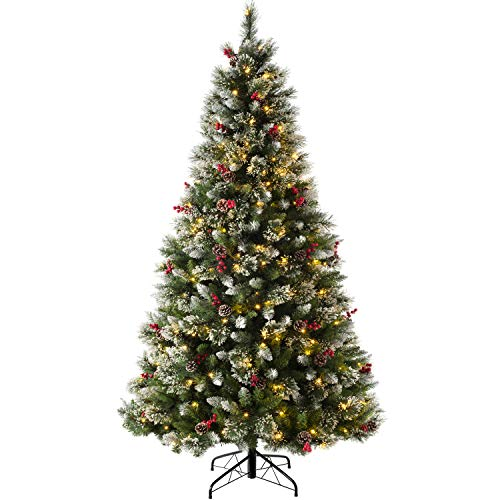 WeRChristmas Pre-lit Victorian Snow Coated, Berries & Cones Christmas Tree with 160 LED Lights, Green, 5 feet/1.5m