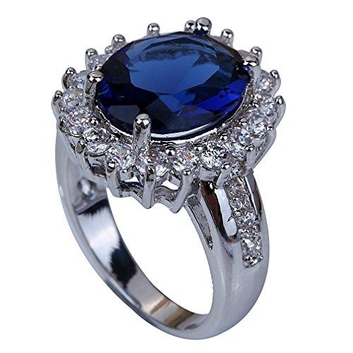Yazilind Schmuck Einzigartige Entwurfs-Silber überzogene Sapphire Women Ring Dame Geschenk Size9