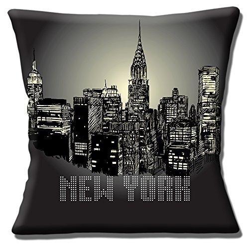 Neuf Ciel De New York Nuit NYC Amérique USA Voyage Noir - 40.6cm (40cm) Housse Coussin