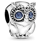 Owl sterling silver charm with bright cobalt blue crystal and clear cubic zirconia
