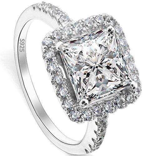 EVER FAITH® 925 Sterling Silber Princess Cut klassisch CZ Engagement Ring - Größe 54 (17.2) N06645-2