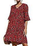 datasy Mujer Vestido Floral Verano Vestido Playa Fiesta Vestido Casual Sueltas Magas Cortas Cuello en V Verano Vestido de Oscilación de Noche Playa Vacaciones Rojo-2 XXL