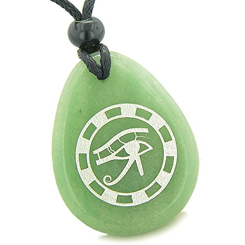 BestAmulets Amulet All Seeing Eye of Horus Ancient Green Quartz Pendant...
