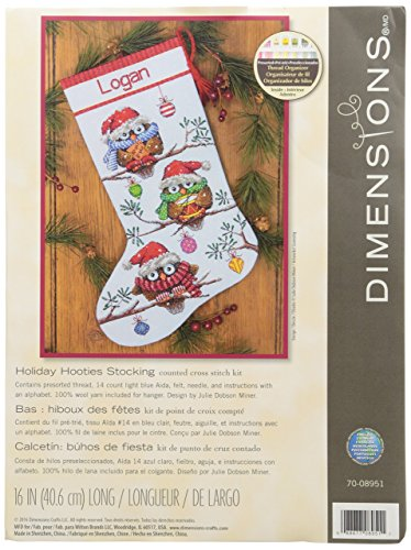 Dimennsions comptées au Point de Croix « Ours de Neige » - Kit de Chaussettes de Noël personnalisé, Aïda, Multicolore, 19.600000000000001 x 13.9 x 1.4 cm