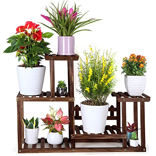 Foldify Pine Wood Plant Stand Indoor Outdoor Multiple Flower Pot Holder Shelf Rack Higher and Lower Planter Display Shelving Unit in Garden Balcony Patio Living Room(7-9 Flowerpots)