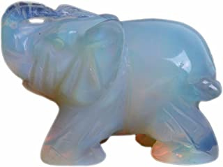 Carved Opalite Moonstone Glass Elephant Healing Guardian Statue Figurine Crafts 2 inch