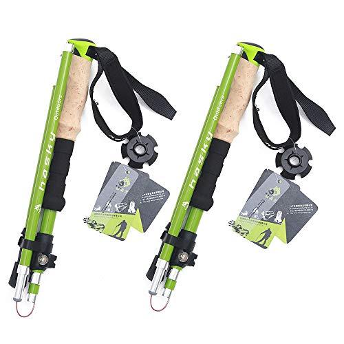 Wanderstock- Faltbar Nordic Walking Stöcke, Verstellbar, Leicht, Trekkingstöcke Für Damen Und Herren EIN Paar 35-135cm,Green