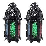 FUFRE 2 Piezas Farol Portavelas Retro Vela Marroqui, Farol de Cristal para Velas, Decoración Iluminación para Exteriores o Interiores (Negro + Vitral)