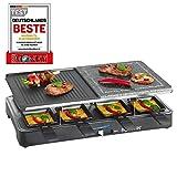 Bomann RG2279CB Raclette Grill con Piedra Natural y Placa Reversible, 8 Personas, 1400W, 1400 W, Acero Inoxidable, Azul