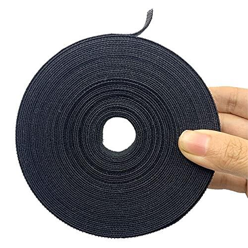 Bridas, Ties Reutilizables 10m x2cm, Doble Cara Cables 1 rollo, Cinta para Cables Corte libre, Sujeta Cables,Tiras de(Negro)