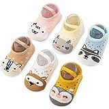 Baby Non Skid Anti Slip Socks for Toddler Girls Slipper No Show 0-36 Months 6 Pairs (0-12month, Animal)