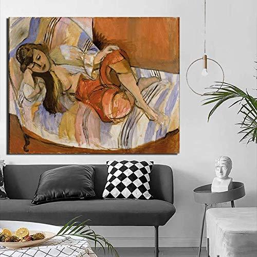 KWzEQ Frau liegend schlafend drucken Leinwand Malerei Wohnzimmer Hauptdekoration Ölgemälde Moderne Wandkunst Poster,Rahmenlose Malerei,40x50cm