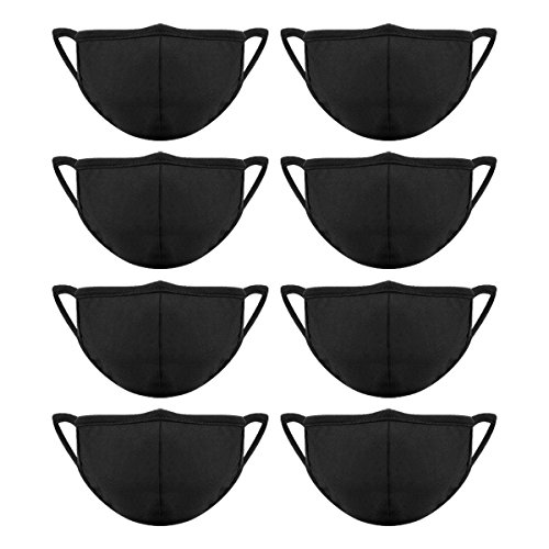 8 Pieces Cotton Mouth Masks with Nose Bridge Wire, Black Face Mask for Women and Men Prevent Dust
