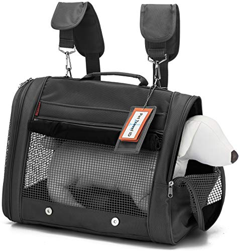 Prefer Pets Hideaway Pet Airline Approved Travel Carrier Duffel Bag & Backpack Helps Reduce Pet's Fear & Anxiety, Black