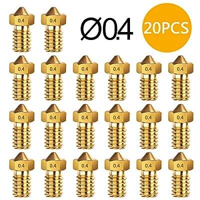 3D Printer nozzle 0.4mm Brass Nozzle Extruder Print Head for 1.75mm Filament E3D V5-V6 3D Printer (20 pcs)