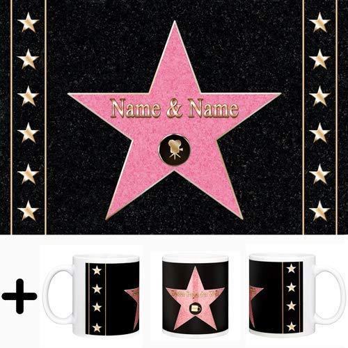 Eule-Design.de Fußmatte Walk of Fame mit Namen Ihr personalisiertes Geschenk für Familie Paare Männer Frauen EIN Hollywood Stern Star