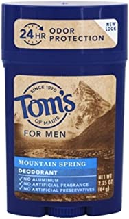 Tom's of Maine Natural Long Lasting Men's Deodorant, Mountain Spring 2.25 oz (Pack of 4)