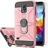 Galaxy S5 Case,Galaxy S5 Phone Case with HD Screen Protector YmhxcY 360 Degree Rotating Ring Kickstand Holder Dual Layers of Shockproof Phone Case for Samsung Galaxy S5 (I9600)-ZS Rose Gold