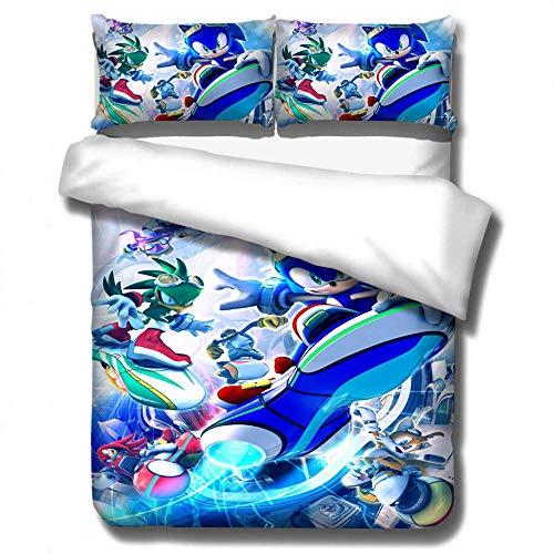AmenSixye Textiles para el hogar, Juego de Cama 3D Sonic con Estampado de Erizo, Juego de edredón de Dibujos Animados de algodón para niños, Juego de edredón Doble King Completo, 200x200cm(3piezas)