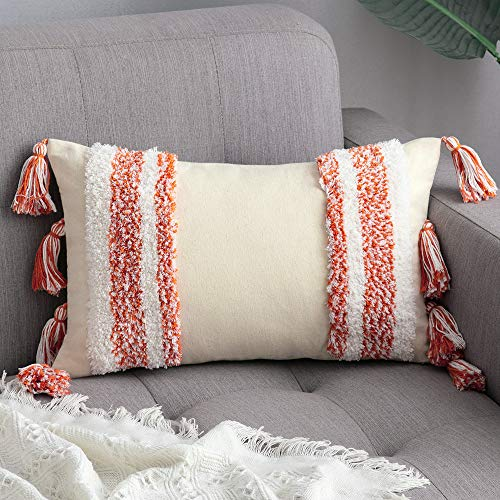MIULEE Tasseled Cushion Covers Bohemian Indian Embroidered Decorative Square Throw Pillow Case Pillowcases for Couch Livingroom Sofa Bed with Invisible Zipper 12x20 inch 30x50cm Orange