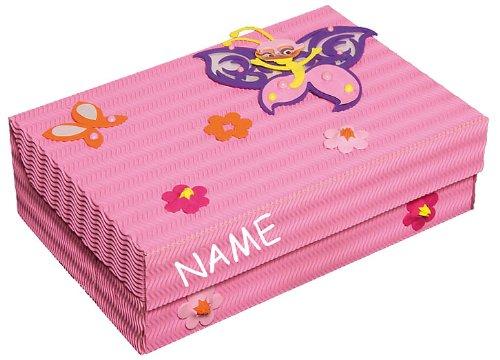 alles-meine.de GmbH Bastelset Schulbox / Kreativbox - incl. Name - Schmetterling Blume Mädchen rosa pink - Schule Basteln Malbox für Kinder / Zeichenbox Schachtel / Spielzeugkist..