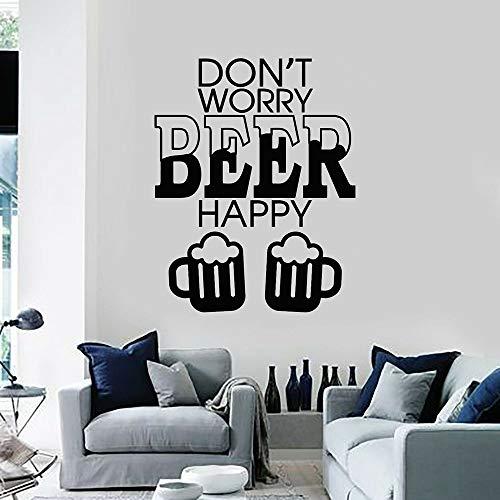 jiushivr Vinyl Wandtattoo Mach dir Keine Sorgen Bier Happy Bar Pab Alkohol Wandaufkleber Küche Dekoration Zubehör Für Wohnzimmer 42x53cm