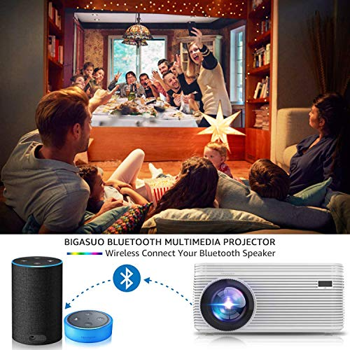 BIGASUO [2021 Upgrade] Full HD Bluetooth Projector with Built-in DVD Player, Portable Mini Projector Compatible with Phone/Pad/HDMI/VGA/AV/USB/TF SD Card, 720P Native 1080P Supported