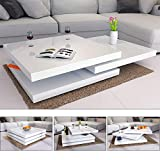 Deuba Mesa de Centro Moderna y Blanca mesita lacada Brillante 76 x 76 cm bandejas giratorias 360° auxiliar comedor salón