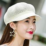 TUOLUO Sombrero De Boina De Verano Femenino Protector Solar De Viaje Protector Solar Lengua De Pato Sombrero Octogonal Sombrero De Paja Sombrero De Red Ajustable/Blanco