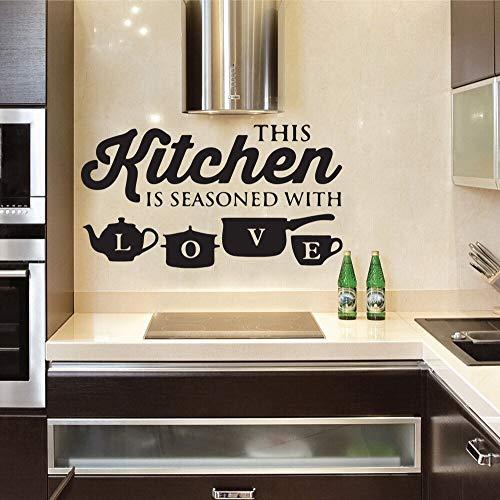 AGjDF Küche bieten Topf Tasse Liebe Wandaufkleber Wanddekoration abnehmbare Vinyl Aufkleber Kunst Restaurant Dekoration Tapete57x32cm