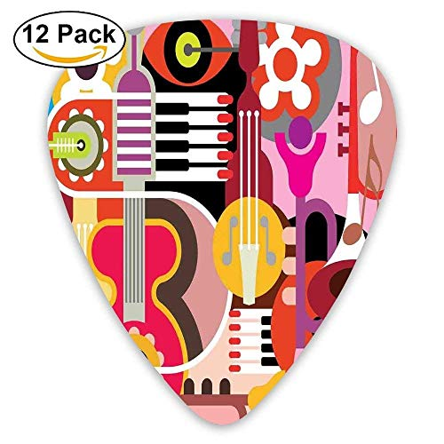 Complex Graphic With Various Musical Properties Icons Keyboard Festival Piano Party Art Design Guitar Picks 12/Pack